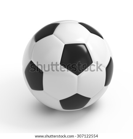 Football - Soccer ball HQ 3D render isolated with clipping path on white - stock photo