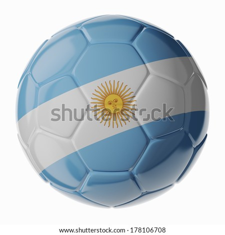 Football/soccer ball with flag of Argentina. 3D render - stock photo