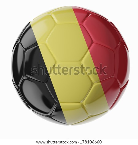 Football/soccer ball with flag of Belgium 3D render - stock photo