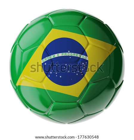 Football/soccer ball with flag of Brazil. 3D render - stock photo
