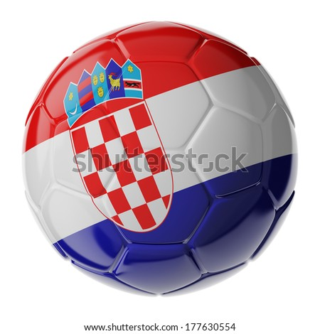 Football/soccer ball with flag of Croatia. 3D render - stock photo