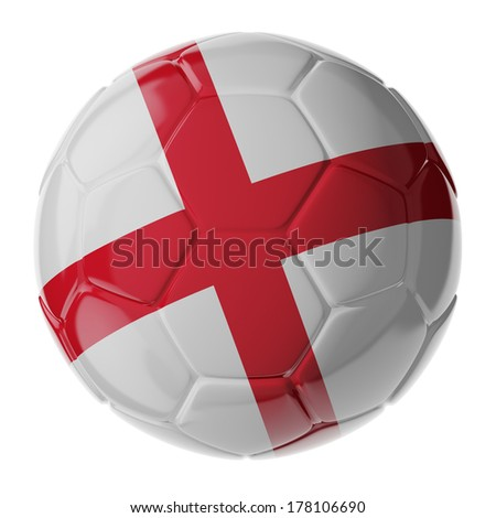 Football/soccer ball with flag of England. 3D render - stock photo