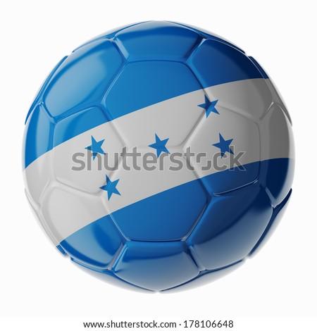 Football/soccer ball with flag of Honduras. 3D render - stock photo