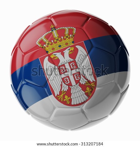 Football soccer ball with flag of Serbia. 3D render - stock photo