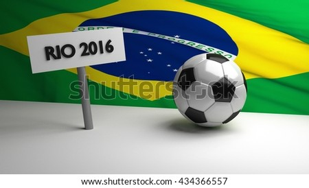 Football / soccer ball with RIO 2016 sign with brazilian flag in background. 3D render.
