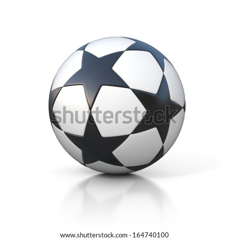 football - soccer ball with star pattern isolated on white - stock photo