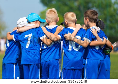 Football; soccer; handball; volleyball; match for children. shout team, football soccer game. team work - stock photo