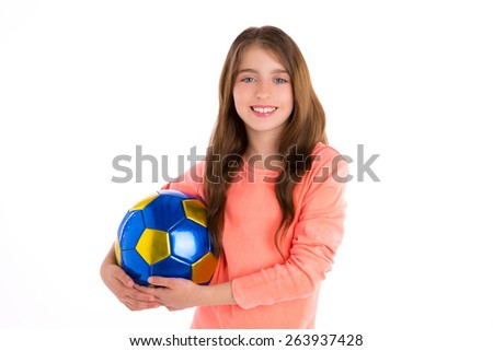 Football soccer kid girl happy player with ball on white background - stock photo