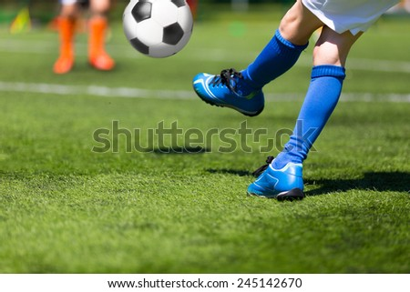 Football soccer match for children - stock photo