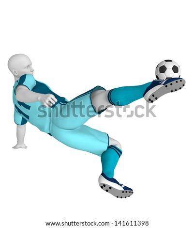 Football / soccer player in action, isolated on white background, hires, ray traced - stock photo
