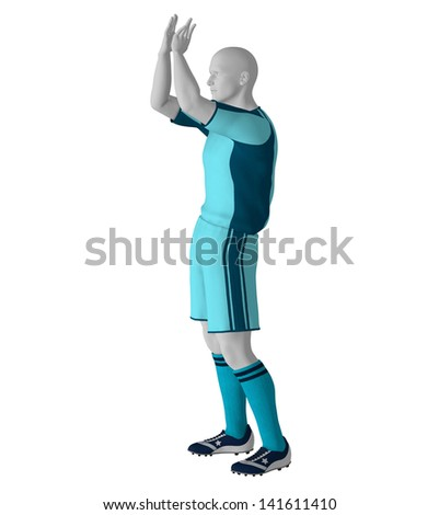 Football / soccer player in action, isolated on white background, hires, ray traced