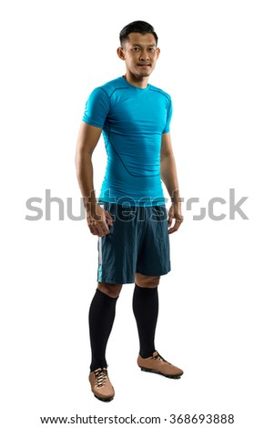 Football ,soccer player with isolate white background. - stock photo