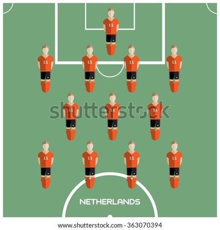 Football Soccer Players isolated on the Playfield. Computer game Football Club Playground. Digital background raster illustration. - stock photo