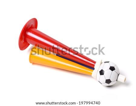 Football soccer triple fan trumpet - stock photo
