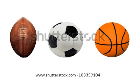 Football, Soccerball and Basketball