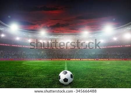 football stadium before the game. night lighting - stock photo
