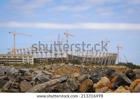 Football stadium construction. Cape Town Green Point stadium before world championship - stock photo