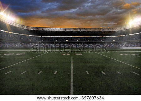 Football Stadium with fans wearing blue uniforms - stock photo