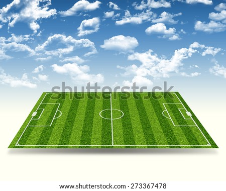 Football stadium with gates on abstract blue sky background, side view - stock photo