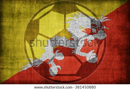 football symbol on Bhutan flag pattern,retro vintage style