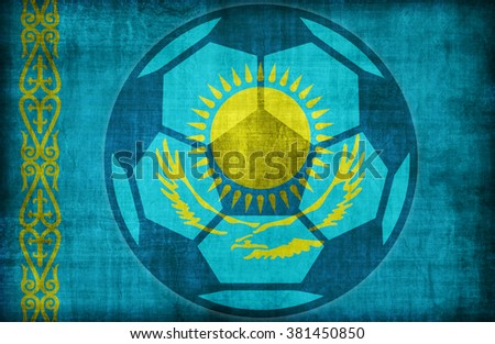 football symbol on Kazakhstan flag pattern,retro vintage style