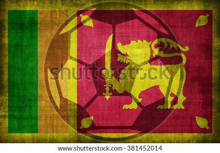 football symbol on Sri Lanka flag pattern,retro vintage style - stock photo