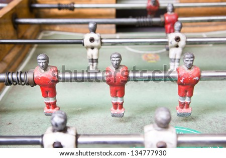 football table close up ,soccer table - stock photo