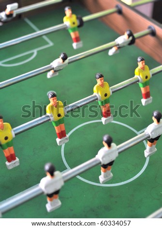 football table close up soccer table - stock photo