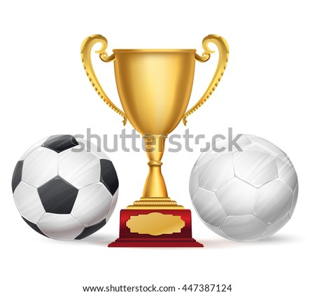 football trophy award and soccer balls on white. raster