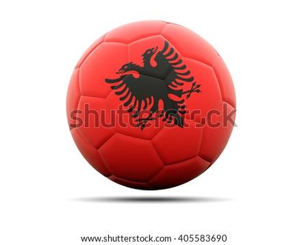 Football with flag of albania. 3D illustration - stock photo