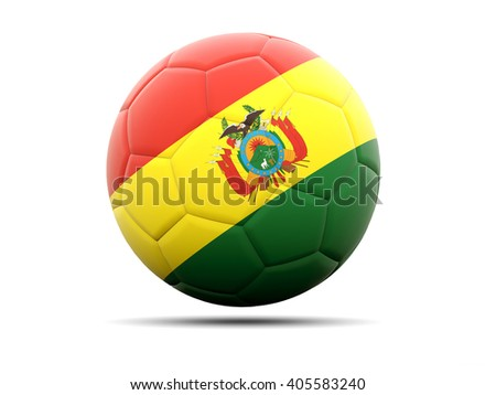 Football with flag of bolivia. 3D illustration - stock photo