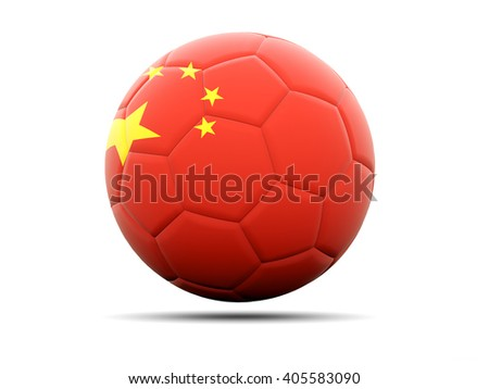 Football with flag of china. 3D illustration - stock photo