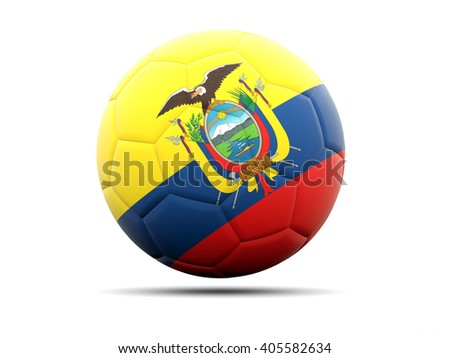 Football with flag of ecuador. 3D illustration - stock photo