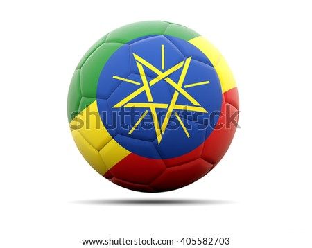 Football with flag of ethiopia. 3D illustration