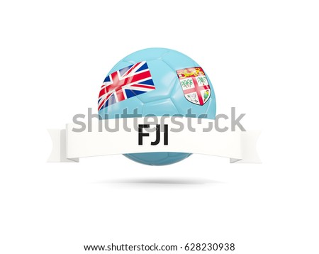 Football with flag of fiji and white banner. 3D illustration