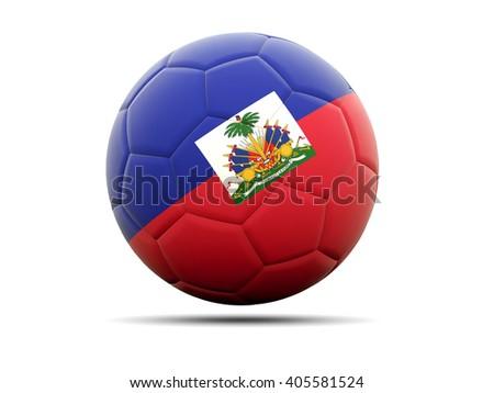 Football with flag of haiti. 3D illustration - stock photo