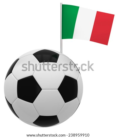 Football with flag of Italy - stock photo