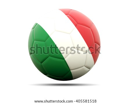 Football with flag of italy. 3D illustration - stock photo