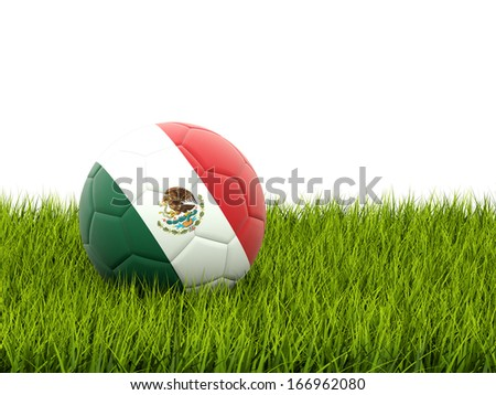 Football with flag of mexico on green grass - stock photo