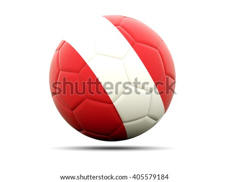 Football with flag of peru. 3D illustration