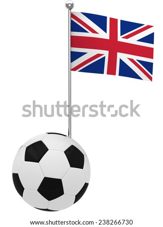 Football with flag of UK - stock photo