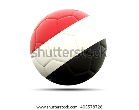 Football with flag of yemen. 3D illustration