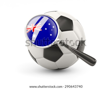 Football with magnified flag of australia isolated on white - stock photo
