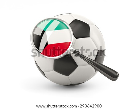 Football with magnified flag of kuwait isolated on white - stock photo