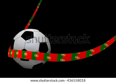 Football with portuguese ribbon 3D Rendering