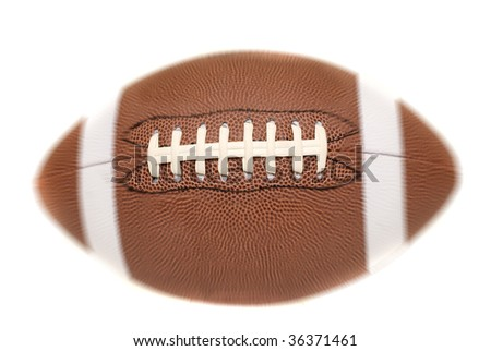 Football with radial blur, on white background - stock photo