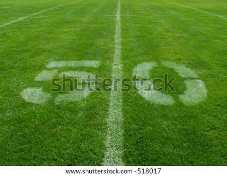 football 50-yard line - stock photo