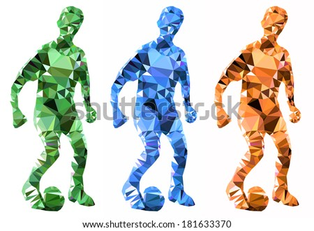footballer with ball isolated on white background - stock photo