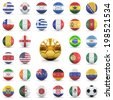 footballs with flags of different countries  - stock photo