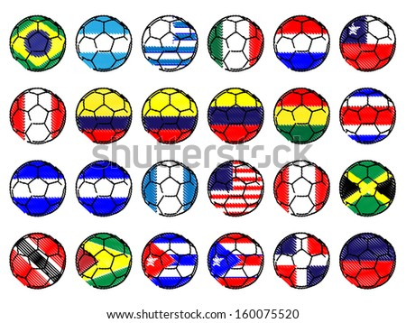 Footballs with Flags of the Americas Pencil Style - stock photo